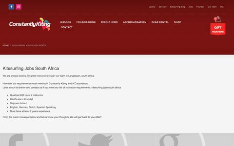 Screenshot of Jobs Page constantlykiting.com - kitesurfing jobs south africa - Join Constantly Kitings team. - captured July 21, 2018