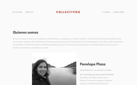 Screenshot of Team Page collectivox.com - Quienes Somos — Collectivox - captured Jan. 15, 2018