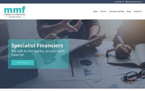 Screenshot of Home Page mmf.net.au - MMF | Finance & Consulting - captured July 15, 2018