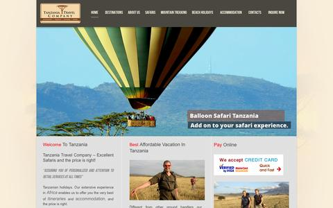 Screenshot of Home Page tanzaniatravelcompany.com - Tanzania Holidays, Tanzania National Parks Tour Packages | Tanzania Travel Company - captured Oct. 1, 2015