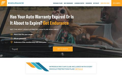 Screenshot of Home Page endurancewarranty.com - Endurance® Extended Car Warranty Pays for Auto Repairs - captured March 7, 2019