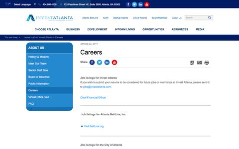 Screenshot of Jobs Page investatlanta.com - Invest Atlanta |   Careers - captured Jan. 9, 2016