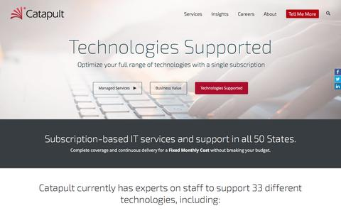 Screenshot of Services Page catapultsystems.com - Managed Services Will Optimize Your Range of Technologies - captured May 21, 2017