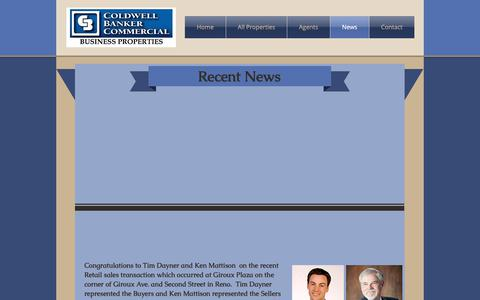 Screenshot of Press Page cbcreno.com - CBC Reno Home | Reno/Tahoe Area | Coldwell Banker Commercial | News - captured Sept. 28, 2018