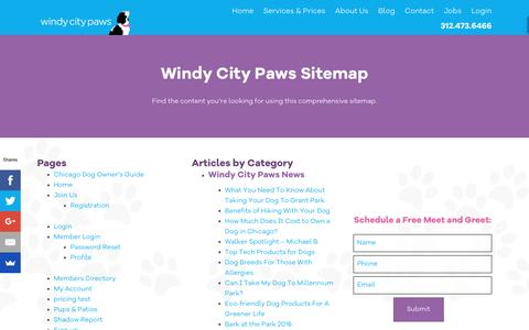 Screenshot of Site Map Page windycitypaws.com - Sitemap - Windy City Paws - captured Nov. 30, 2016