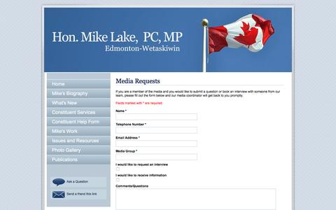 Screenshot of Press Page mikelake.ca - Mike Lake : Member of Parliament for Edmonton-Wetaskiwin : - captured March 11, 2016