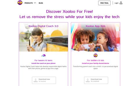 Screenshot of Trial Page xooloo.com - Xooloo Digital Coach helps kids be responsible with digital usage on their own. Get a [FREE 30 Day Trial] Today! - captured Dec. 10, 2018