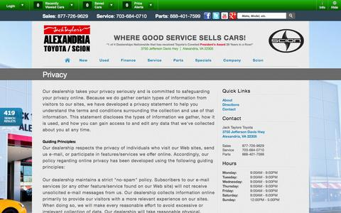 Screenshot of Privacy Page alexandriatoyota.com - Jack Taylors Toyota | Vehicles for sale in Alexandria, VA 22305 - captured Oct. 4, 2014