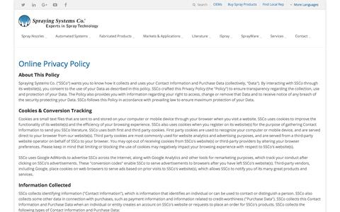 Screenshot of Privacy Page spray.com - Online Privacy Policy   Spraying Systems Co. - captured July 10, 2017