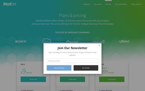 Screenshot of Pricing Page restlet.com - Restlet Pricing | Plans & FAQ - captured May 9, 2017