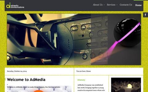 Screenshot of Home Page Terms Page admedia.co.ke - Home - captured Oct. 4, 2014