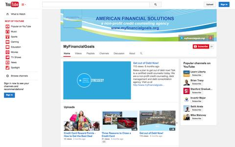 Screenshot of YouTube Page youtube.com - MyFinancialGoals  - YouTube - captured Oct. 23, 2014