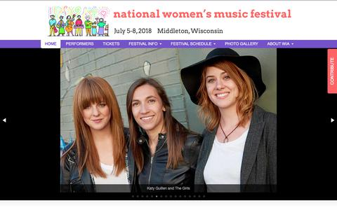 Screenshot of Home Page wiaonline.org - National Womens Music Festival | July 5-8, 2018   Middleton, Wisconsin - captured Jan. 28, 2018