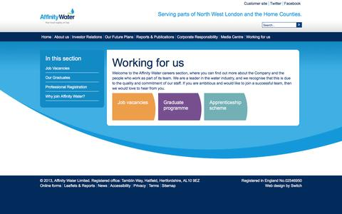 Screenshot of Jobs Page affinitywater.co.uk - Working for us - captured Feb. 5, 2016