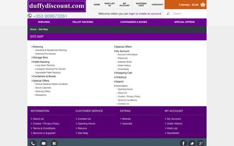 Screenshot of Site Map Page duffydiscount.com - Site Map - captured Sept. 30, 2014