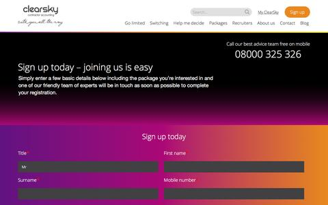 Screenshot of Signup Page clearskyaccounting.co.uk - Sign up - ClearSky - captured Jan. 28, 2016