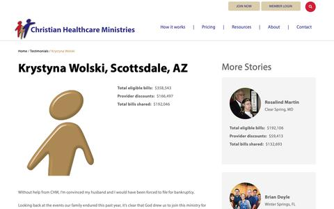 Screenshot of Testimonials Page chministries.org - Scottsdale, AZ              | Christian Healthcare Ministries - captured May 16, 2019