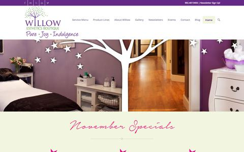 Screenshot of Home Page willowesthetics.ca - Facials | Massage | Pedicures | Laser | Waxing | Electrolysis | Boutique - captured Nov. 30, 2016
