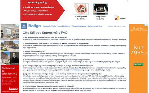 Screenshot of FAQ Page boliga.dk - Boliga.dk - FAQ (Ofte stillede spørgsmål) - captured Aug. 3, 2018