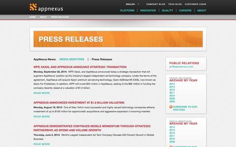 Screenshot of Press Page appnexus.com - PRESS RELEASES | AppNexus - captured Oct. 29, 2014