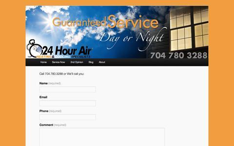 Screenshot of Contact Page 24hourair.com - Request Service   24hourair - captured Oct. 9, 2014