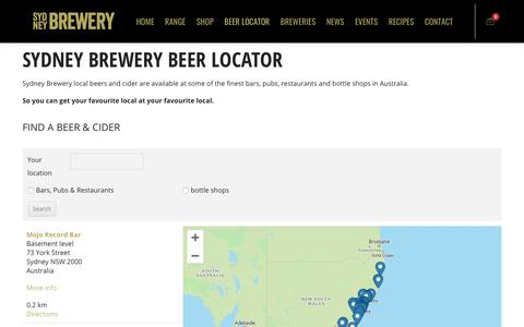 Screenshot of Locations Page sydneybrewery.com - Locations | Sydney Brewery - captured Oct. 2, 2018
