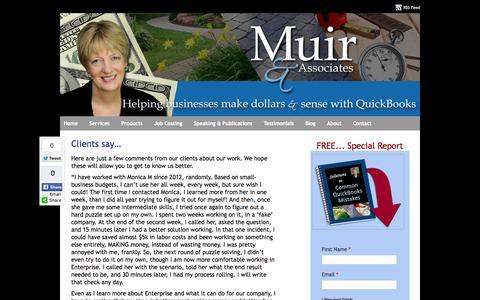 Screenshot of Testimonials Page muirassoc.com - QuickBooks Landscaping Lawn Care Irrigation Job Costing Frederick MD Testimonials - captured Oct. 26, 2014