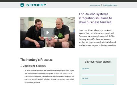 Screenshot of Landing Page nerdery.com - Systems Integration at The Nerdery - captured Oct. 19, 2016