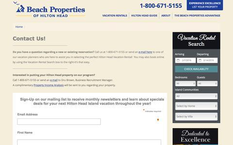 Screenshot of Contact Page beach-property.com - Hilton Head Rental Properties ~ Beach Properties ~ Hilton Head SC - captured Feb. 7, 2016