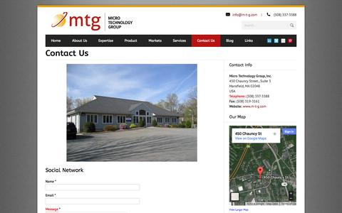 Screenshot of Contact Page m-t-g.com - Contact Us - captured Oct. 27, 2014