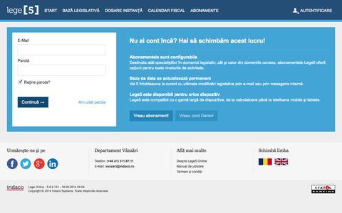 Screenshot of Login Page lege5.ro - Login - captured Sept. 23, 2014