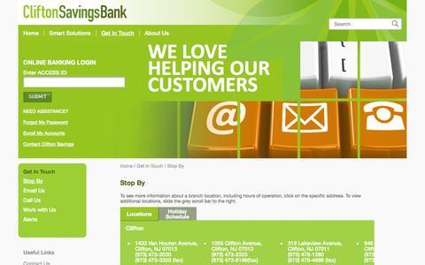 Screenshot of Locations Page cliftonsavings.com - Stop By   Clifton Savings Bank - captured Nov. 2, 2014