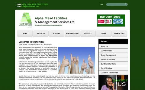 Screenshot of Testimonials Page amfacilities.com - Customer Testimonials   AlphaMead Facilities & Management Services Ltd - captured Oct. 4, 2014