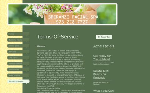 Screenshot of Terms Page speranzi.com - Acne, Wrinkles, Skin Aging, Skin Problems - Terms-Of-Service - captured Dec. 10, 2016