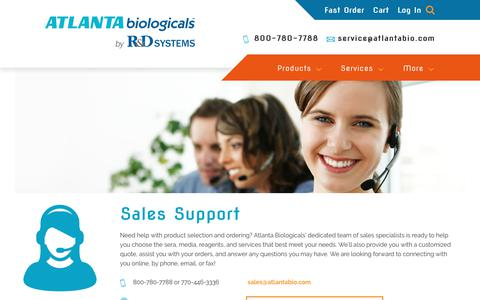 Screenshot of Support Page atlanta-biologicals.com - Support | Atlanta Biologicals - captured July 12, 2018