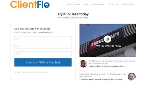 Screenshot of Trial Page clientflo.ca - ClientFlo | Free Trial - ClientFlo - captured Jan. 29, 2016