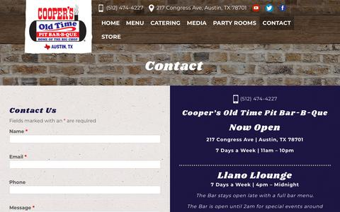 Screenshot of Contact Page coopersbbqaustin.com - Contact - Cooper's BBQ: Austin, Texas - captured Sept. 29, 2018