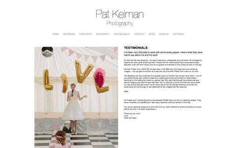 Screenshot of Testimonials Page patkelmanphotography.com - Testimonials » Pat Kelman Photography - captured Sept. 30, 2014