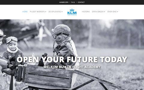 Screenshot of Home Page pilootworden.nl - KLM Flight Academy: de plek om piloot te worden - captured Feb. 12, 2016