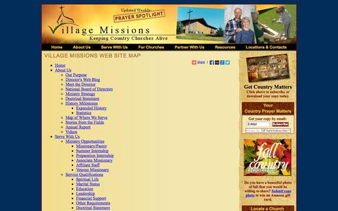 Screenshot of Site Map Page village-missions.org - Site Map - Village Missions - Keeping Country Churches Alive - captured Oct. 26, 2014