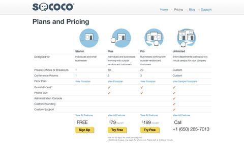 Screenshot of Pricing Page sococo.com - Pricing - captured Sept. 12, 2014