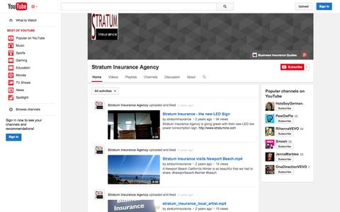 Screenshot of YouTube Page youtube.com - Stratum Insurance Agency  - YouTube - captured Oct. 24, 2014