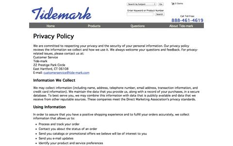 Screenshot of Privacy Page tide-mark.com - Privacy and Security Policies - captured Oct. 7, 2014