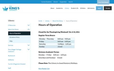 Screenshot of Hours Page kingsu.ca - Hours of Operation: The King's University - captured Dec. 1, 2016