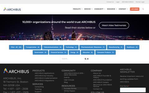 Screenshot of Case Studies Page archibus.com - Success Stories | ARCHIBUS - captured July 11, 2019