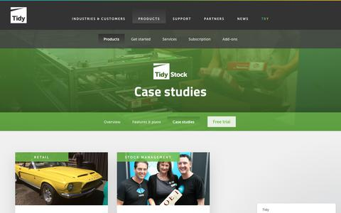 Screenshot of Case Studies Page tidyinternational.com - Tidy | TidyStock Case Studies - captured Nov. 8, 2018