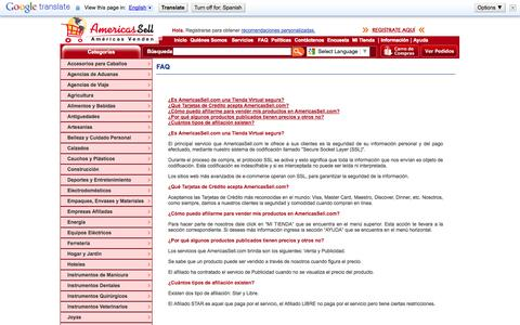 Screenshot of FAQ Page americassell.com - AMERICASSELL - AMERICAS VENDEN - captured Oct. 4, 2014