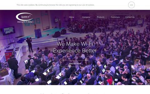 Screenshot of Home Page optiwifi.com - OptiWifi - captured Feb. 14, 2016