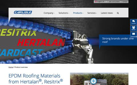 Screenshot of Products Page ccm-europe.com - EPDM Roofing Materials & Flat Roofing Solutions - CCM Europe - captured Sept. 27, 2018