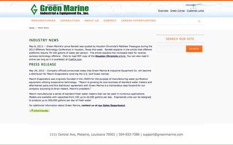 Screenshot of Press Page greenmarine.com - News Room - captured Feb. 1, 2016